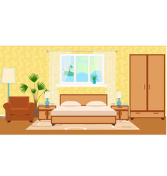 Flat style hotel room interior with furniture vector