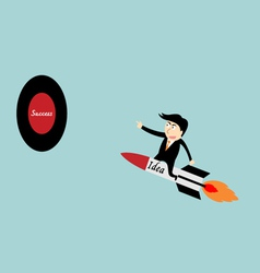 Businessman rocket idea vector