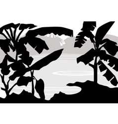 Banana tree pond vector