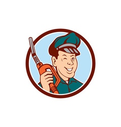 Gas attendant nozzle winking circle cartoon vector