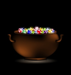 Pot of gems vector