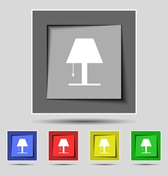 Lamp icon sign on the original five colored vector