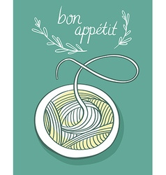 Card with spagetti vector