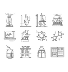 Thin line style chemistry icons vector