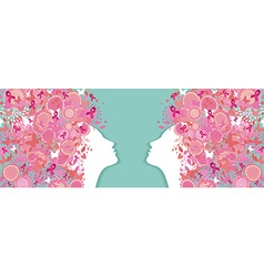 Breast cancer simple silhouette pink ribbon women vector
