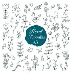 Floral doodle set vector