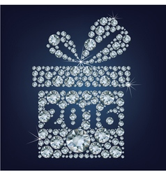 Gift present with 2016 made up a lot of diamonds vector