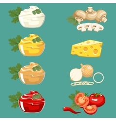 Set sauces for meat dishes and fast food vector