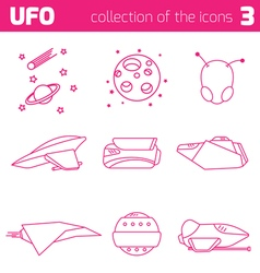 Ufo alien ships icon part three vector