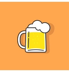 White beer glass with foam logo icon vector