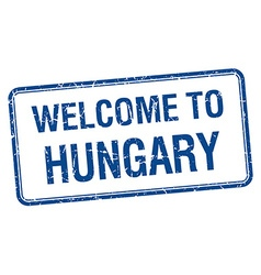 Welcome to hungary blue grunge square stamp vector