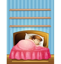 Little girl sleeping in bed vector