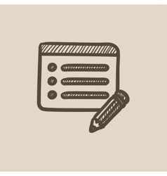 Taking note sketch icon vector