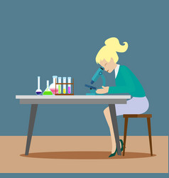 A chemist girl or an assistant observes chemical vector