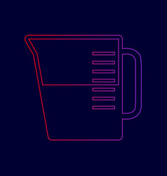 Beaker sign line icon with gradient from vector