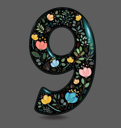 Black glared number nine with watercolor flowers vector