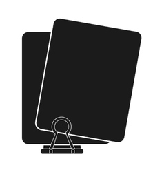 Black paper clip and document design vector