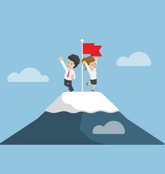 businessman climbed to the top of mountain vector image
