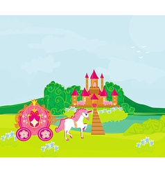 Castle and beautiful carriage vector