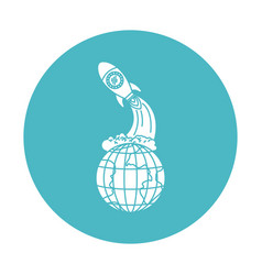 Circle light blue with earth globe and space vector