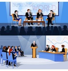 Conference public speaking 2 flat banners vector