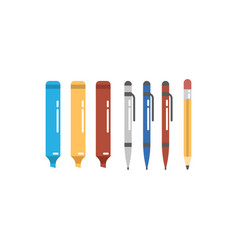 Felt-tip pens pens and pencils icons set vector