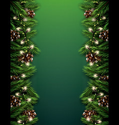 Fir branch with neon lights and pine cone on vector