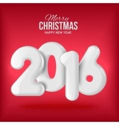 Happy new 2016 year Voluminous white figures vector image