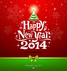 Happy New Year 2014 lettering Greeting Card vector image