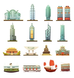 Hong Kong Landmarks Transportation Icons Set vector image