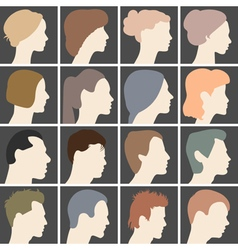 Human profiles with different hairstyles vector image vector image