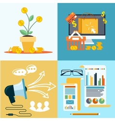 Icons for seo social media online shopping vector image