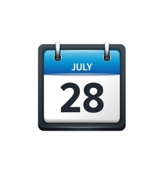 July 28 calendar icon flat vector