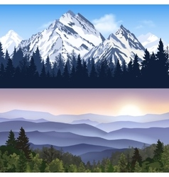 Landscape of mountains banners vector