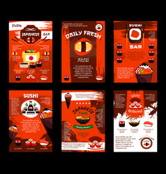 Menu for japanese food sushi bar restaurant vector