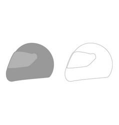racing helmet the grey set icon vector image vector image