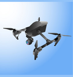 Realistic remote air drone quad-copter with camera vector