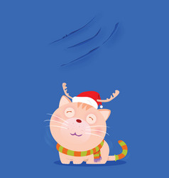 santa cat show scratch nail on the wall vector image