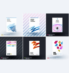 Set of design of brochure abstract annual report vector