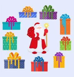 set of santa claus character and christmas gifts vector image vector image