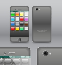 Smoke grey modern touchphone gadget vector