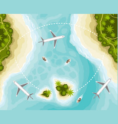 The islands and planes top view vector