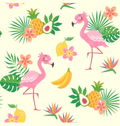 tropical flamingo bird pattern vector image
