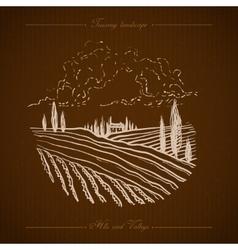 Tuscany landscape hand drawn vector