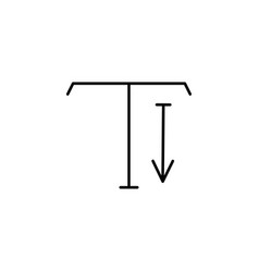 Type tool down arrow icon vector