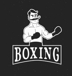 vintage boxer logo vector image vector image