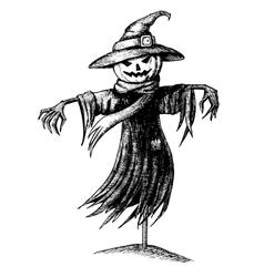 Vintage halloween scarecrow vector