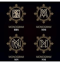 Vintage monograms - 4 sets - monograms series vector