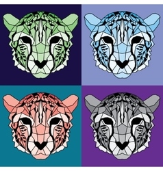 Low poly lined cheetah set vector
