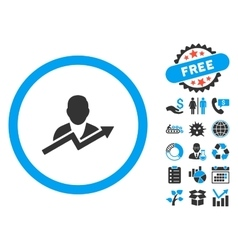 User trend flat icon with bonus vector